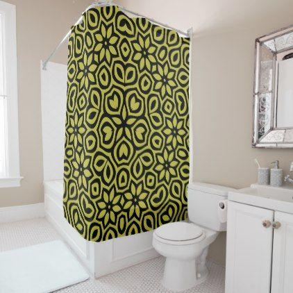 Boho Floral Mandala Flowers Black on Bright Green Shower Curtain - shower curtains home decor custom idea personalize bathroom