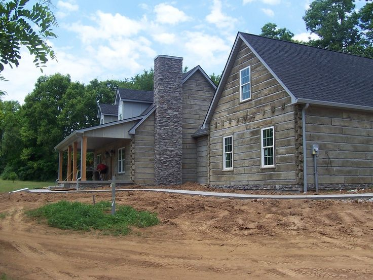 Concrete log home google search pool house pinterest for Log siding for houses