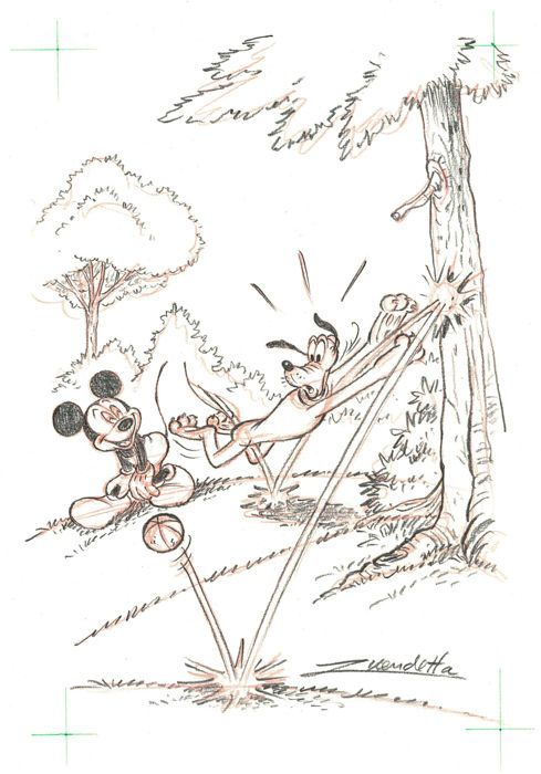 "Vendetta, Z. - Original drawing #5/5 - Mickey Mouse and Pluto ""Throw and Catch"" series - W.B."
