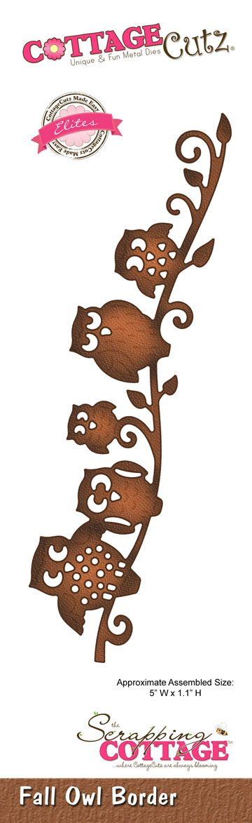 CottageCutz Fall Owl Border (Elites) SOLD OUT - Preorder For Next Shipment