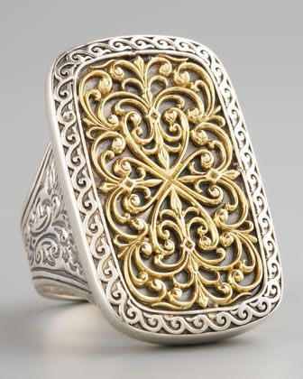 Majestic... I love rectangular rings- Rectangle Filigree Ring by Konstantino at Neiman Marcus.