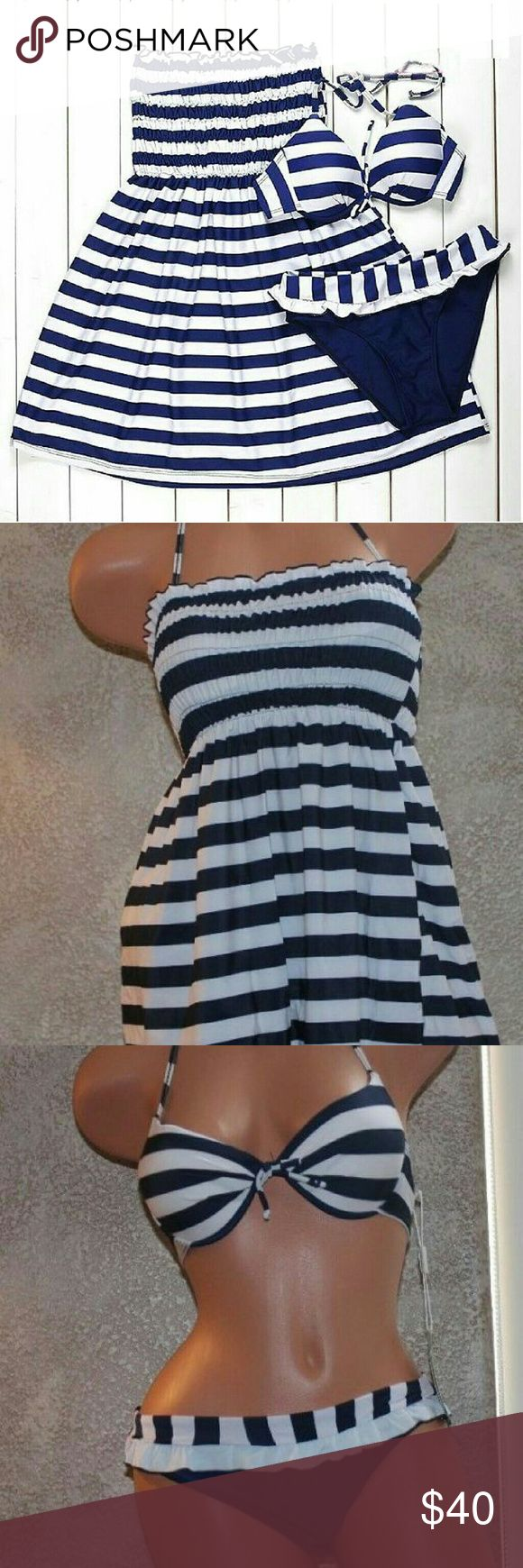 "BLUE WHITE STRIPED 3PC BIKINI SET COVER UP PLEASE CHECK SIZING AS THUS SET RUNS SMALLER, You are buying a woman's 3pc bikini set, Top, Bottom & Cover up/Dress. It is a woman's size US size S (Tag says Large but is an Asian sizing-See first size chart below), It is Bikini top laying flat measures 10.5"" inches wide x 7.5"" inches long (not measuring straps) unstretched , The bikini top is padded & can be removed. The bottom measures 14"" inches wide x 10"" inches long unstretched. The cover up…"