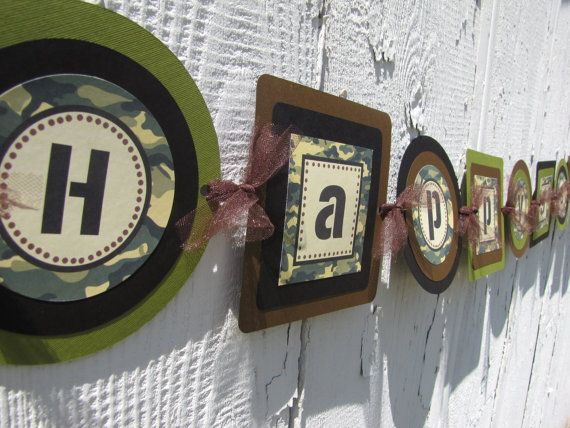 This listing is for a banner that reads Happy Birthday with or without an age in our camo theme. These come fully assembled and are ready for use.