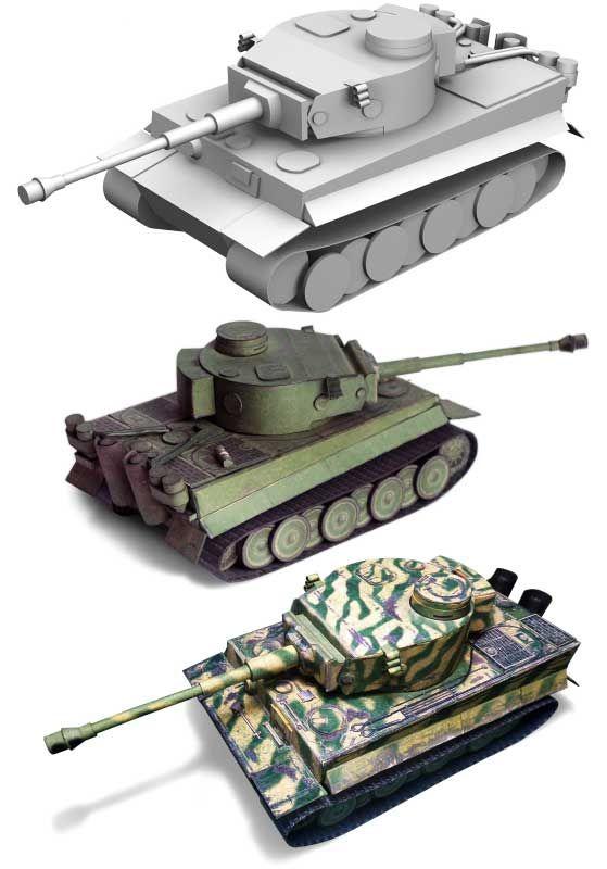 World of Tanks - Pz.Kpfw.VI Tiger Ausf.H1 Tank Papercraft Diorama (3in1) Free Templates Download
