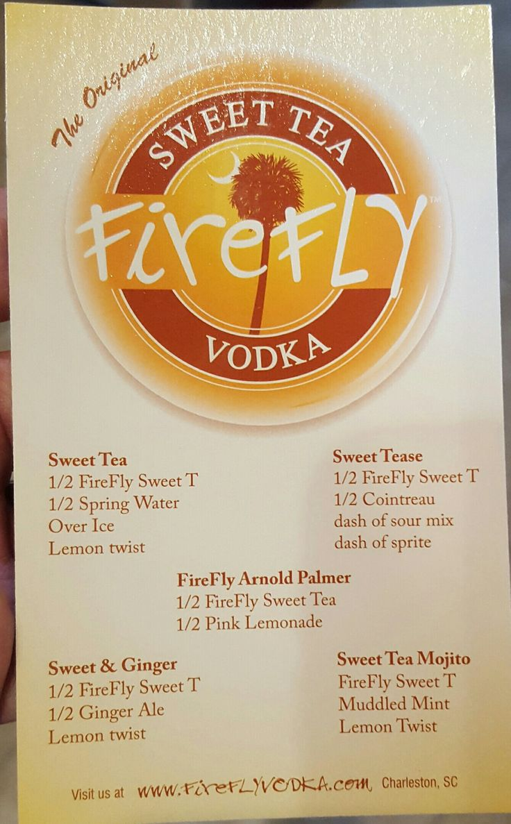Sweet tea vodka drinks from Firefly