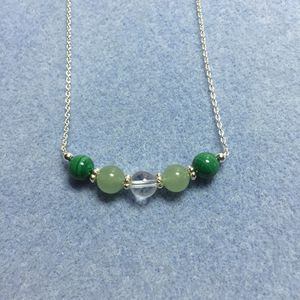 VivaciaDesign Malachite, green aventurine and rock crystal with sterling silver.