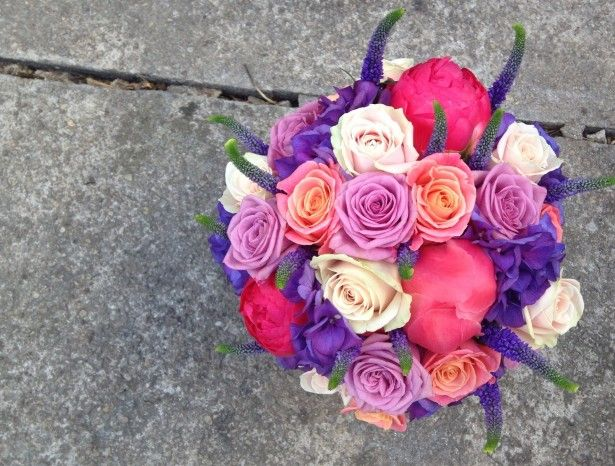 Coral,cerise and purple wedding flowers