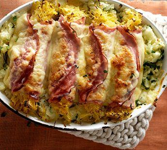 Ham-zuurkoolrolletjes uit de oven.