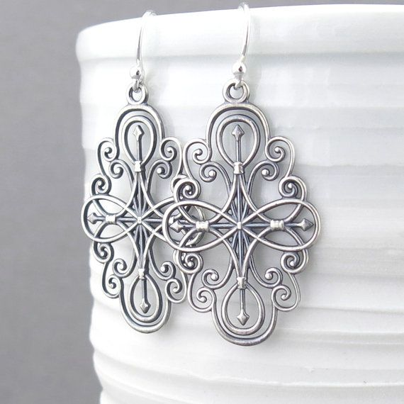 Hey, I found this really awesome Etsy listing at https://www.etsy.com/listing/213893029/silver-filigree-earrings-long-silver