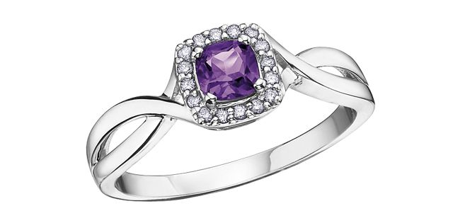 10K white gold halo design ring set with an amethyst and accented with 0.07 carat in diamonds - Available in all 12 birthstones - $299.00 #PoagWishList