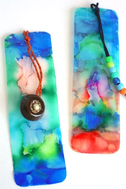 These bookmarks are beautiful. No one will guess they're made from milk jugs and Sharpies! Rubbing alcohol makes the ink run then a spray of varnish fixes it. Fab!