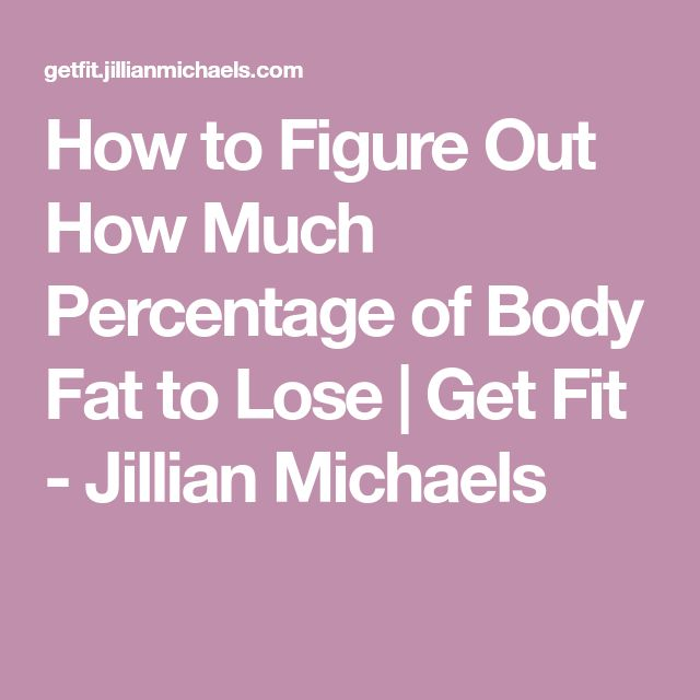 How to Figure Out How Much Percentage of Body Fat to Lose | Get Fit - Jillian Michaels