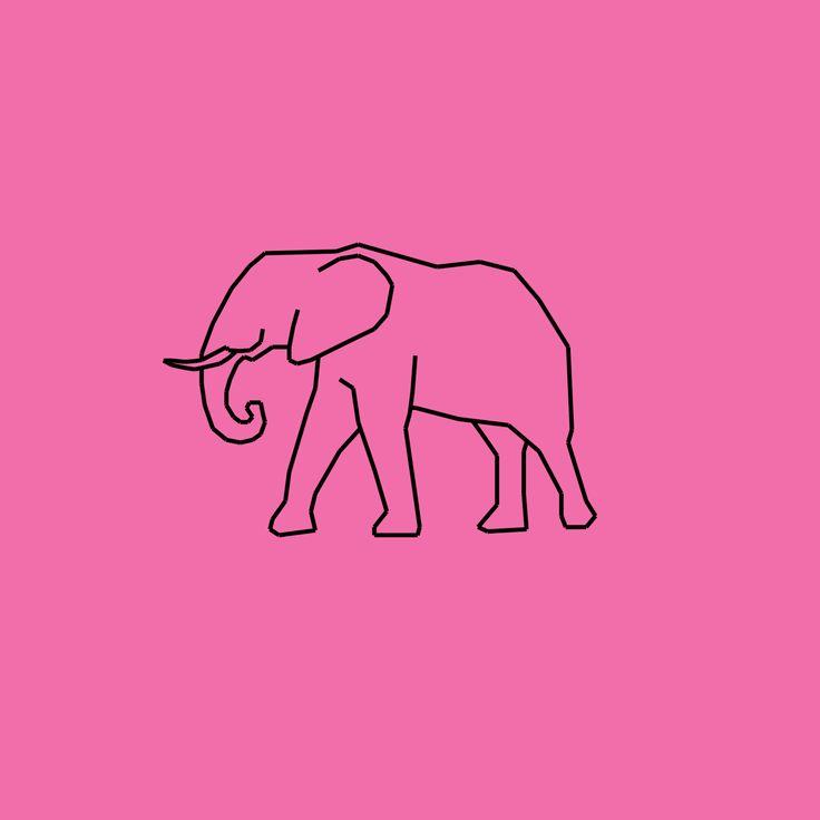 elephant, graphic, pink