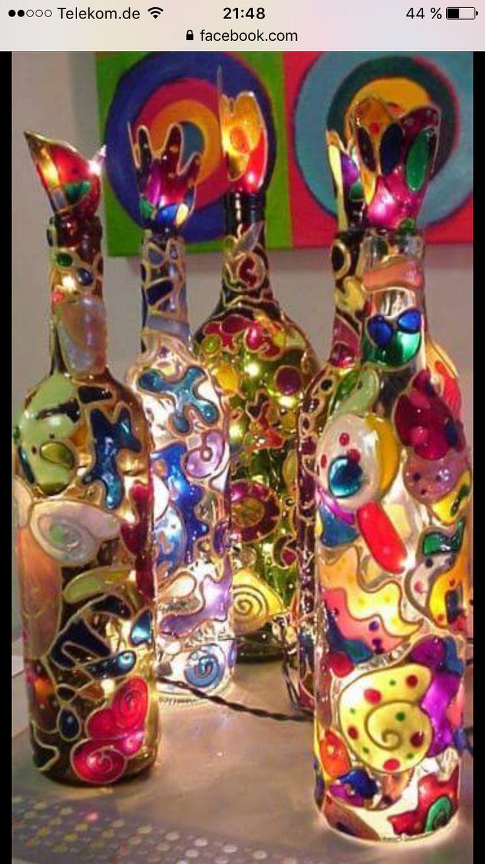 Glas Flaschen & Window Colour / diy Sehr schön❤️