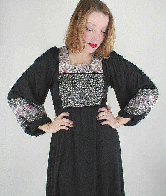 SALE 70s Long Black Knit Dress w/ Quilted Patches by denisebrain, $24.00