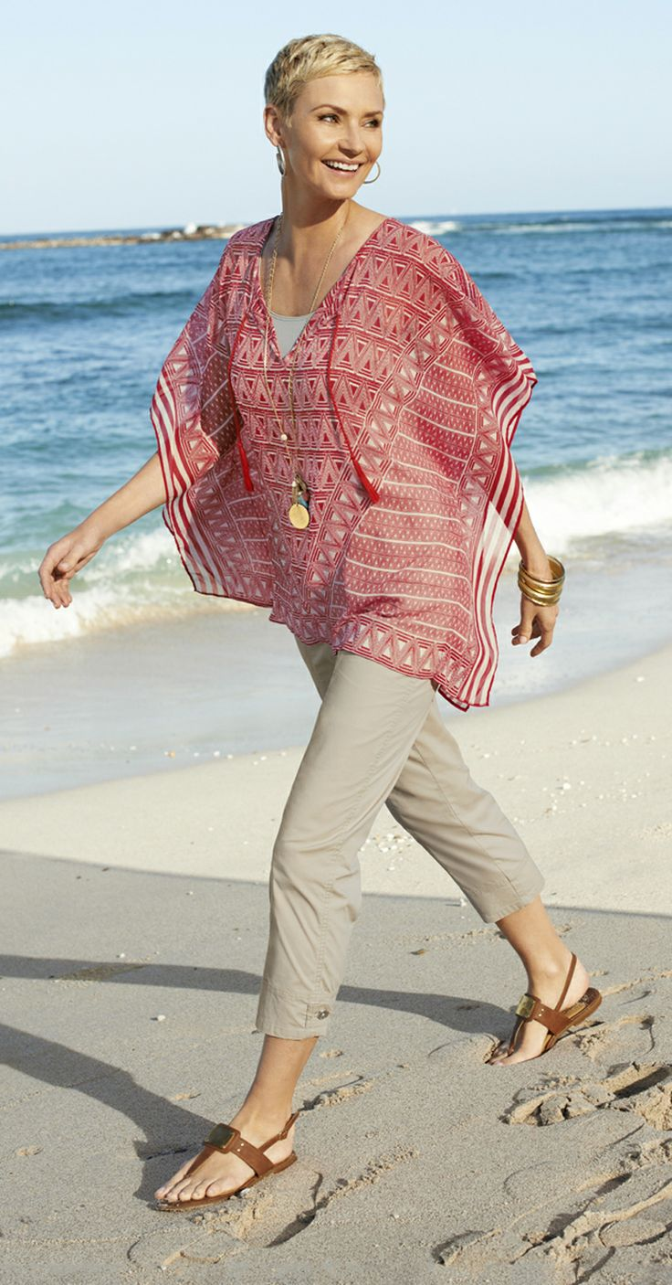 Chico's Maya Poncho. Our printed poncho is breezy and beautiful with a tassel-tie neckline.