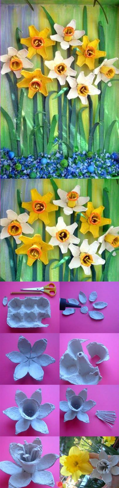recycle the egg carton- flowers