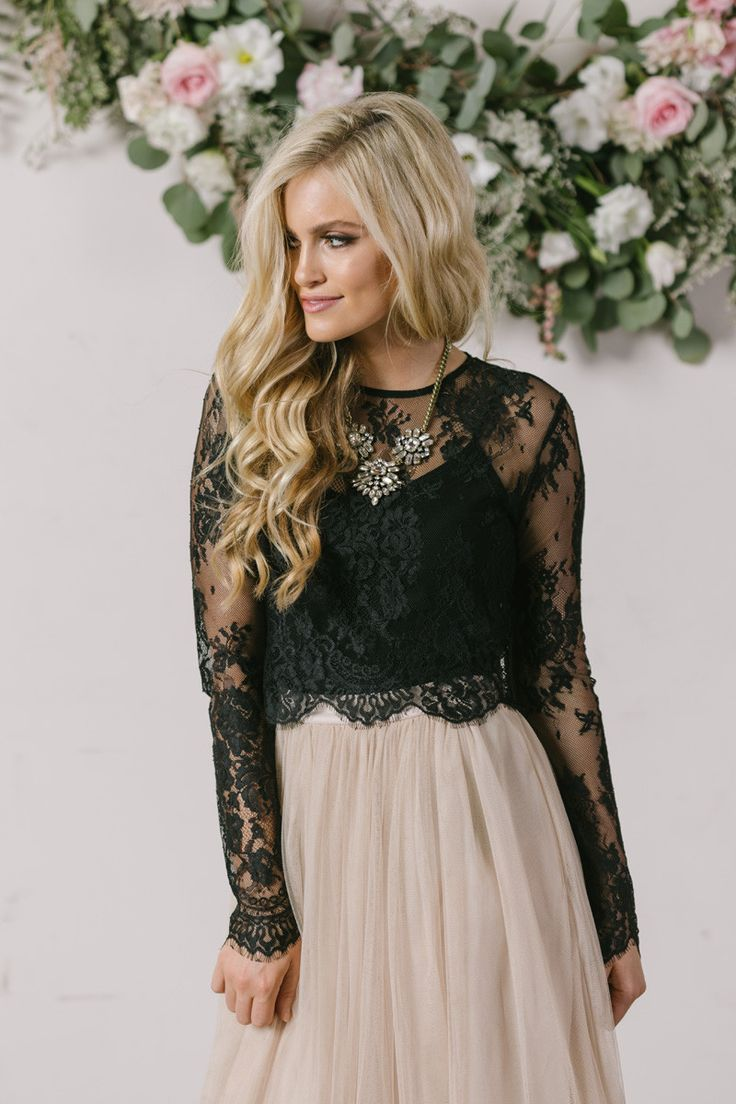 All of your favorite maxi skirts have met its match with our new black longsleeve lace top! This top is flirty, feminine, and so flattering when paired with our best selling Amelia Full Maxi Skirts or
