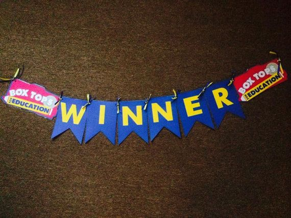 Box Tops For Education Banner Could hang on top of classroom monthly winner