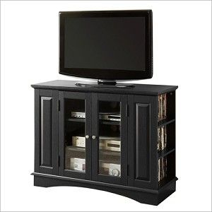 Walker Edison 42'' TV Stand Console with Side Media Storage in Black