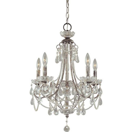 Distressed Silver Five-Light Mini Chandelier. On sale $284. Possible 15% off too.