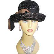 Vintage 1960s Hat Raffia Femme Fatale Couture Mad Men Garden Party Rockabilly Designer Dress Pinup Bombshell Coat Jacket