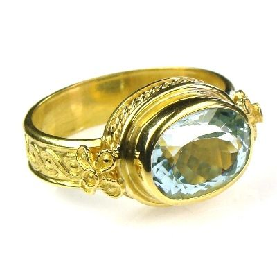 Evangelatos 22k Aquamarine Classical Ring - Athena's Treasures