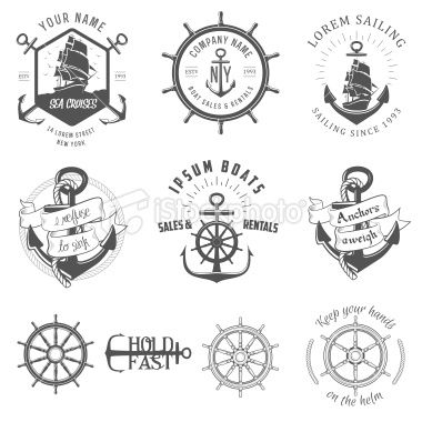 Set of vintage nautical labels, icons and design elements Royalty Free Stock Vector Art Illustration