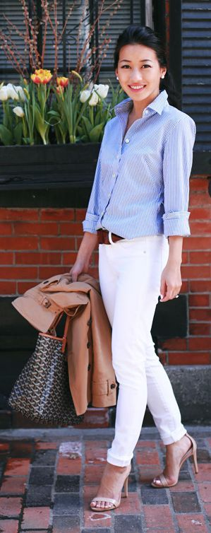 White, Blue And Camel Styling by Extra Petite