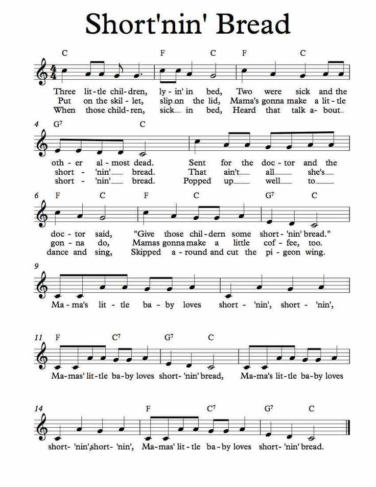 Free Sheet Music for Short'nin' Bread. Children's Song. Enjoy!