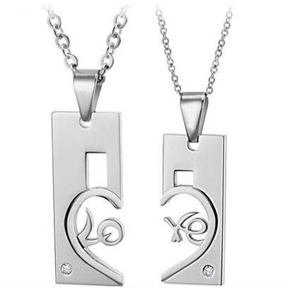Connecting Love Letters matching cute couple necklace set - $13.00