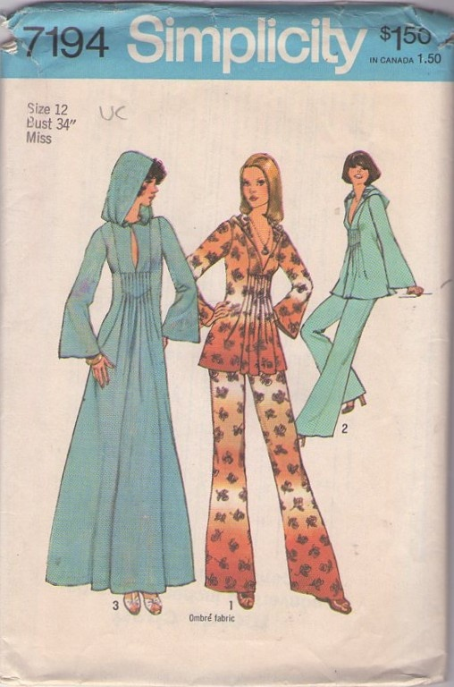 Simplicity 7794 Vintage 70's Sewing Pattern OH SO BOHO Pin tucks hooded top, caftan and pants, A fave of MOMSPatterns