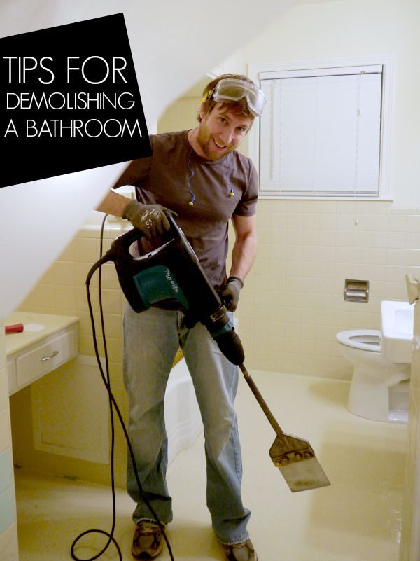 You know how on some of those home remodeling TV shows, when it's time to demolish a room they just start swinging sledge hammers around? Don't do that. Here's a rundown on how to demolish your bathroom for remodeling-- using a demolition hammer. It's still fun, but way more effective. There are lots of other great tips for stuff you might not think about before you start stripping down your bathroom, from {C.R.A.F.T.} || @craft
