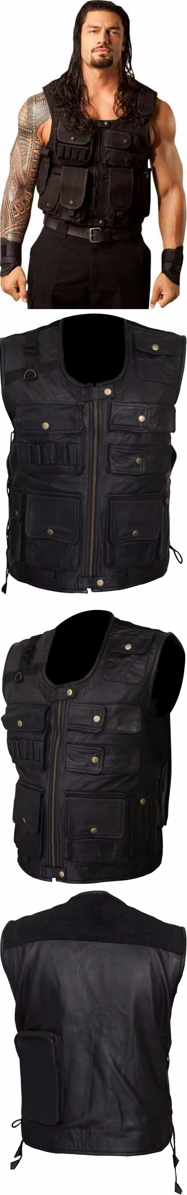 """Inspired from American Professional Wrestler Roman Reigns. """"Smart Seller"""" Present's WWE Roman Reigns Shield Tactical Real Leather Vest for Men. Made from 100% Black Real Leather You can Wear This Impressive Vest in All Season, Parties, Casual Wearing, Friend's Outing, Dates, and more. Available at Our Online Store.  #romanreigns #wwe #wwf #lovers #fans #boysfashion #boyscollection #menfashion #shopping #hot #sexy #stylish #costume #menclothing #menJacket #superhotfashion #parties #casual…"""