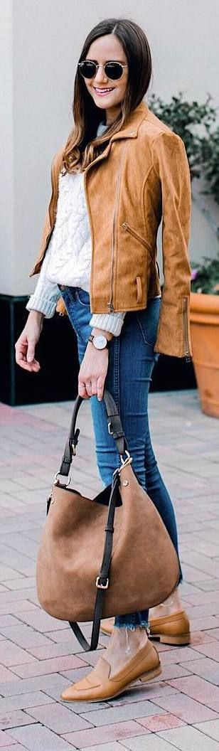 #winter #outfits white sweater, jeans, brown leather jacket, brown flats