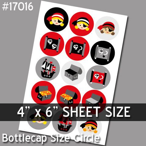 Bottlecap Image.. Pirate Girl D 17016.. JPG 4x6 inch by revidevi