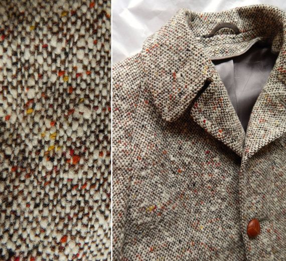Gorgeous Early 1950's Mens Tweed Overcoat. Hedeford Exclusive Fabric. Red Orange Yellow Nubs. Zip Out Plaid Lining. Size 40 41