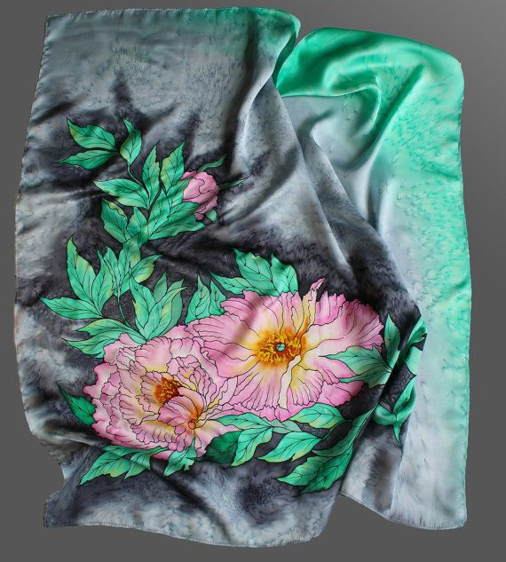 Hand painted silk scarf. Peonies silk scarf. Grey and mint
