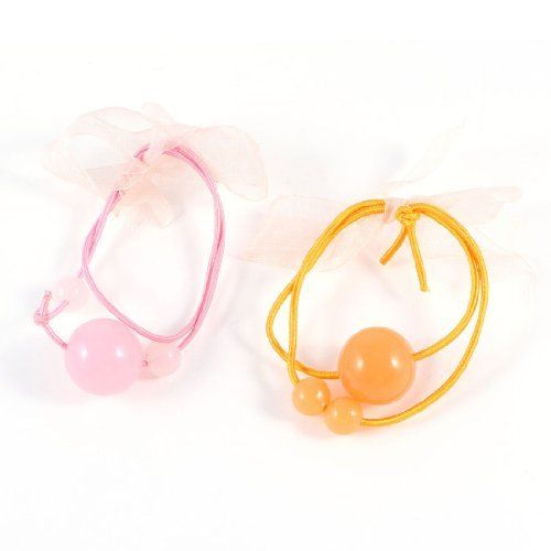 FOREVER YUNG 2 Pcs Orange Pink Beads Design Pony Tail Elastic Hair Band for Girl >>> Want to know more, click on the image.