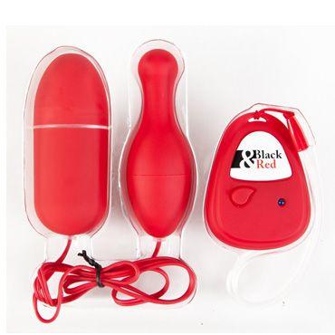 Toyfa набор виброяиц, красный Яйцевидной и грушевидной формы, с пультом ДУ