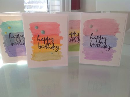 Love the Avery Elle script sentiment Wendy used on these fast and fabulous watercolor cards.