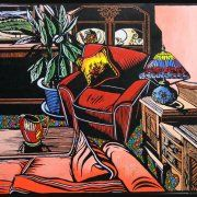 Gail Kellett   LINOCUT      Interior With Rouge Royale