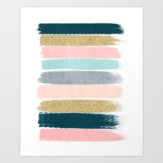 Brushstrokes by Charlotte Winter. Abstract art, pink, gold, navy blue, teal, glitter.