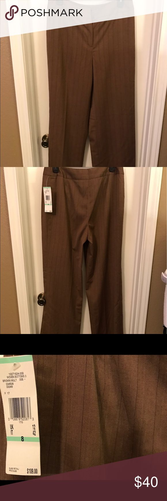 """Anne Klein Brown Pinstripe Slacks Pants Size 8 NWT Anne Klein Brown Pinstripe Stretch Slacks Pants Size 8. They are new with tags. Material is 64% polyester, 34% rayon, 2% spandex. Inseam is about 32"""". Smoke-free home. Anne Klein Pants Trousers"""