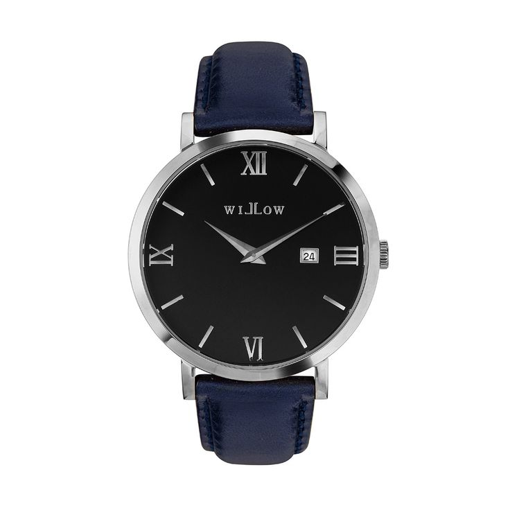Treviso Silver Watch & Interchangeable Navy Blue Leather Strap.