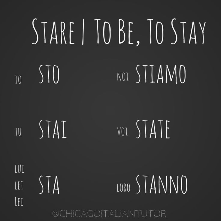 Stare: to be, to stay  100 verbs in Italian!