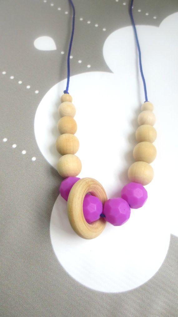 Silicone Teething Wood Nursing Necklace Babywearing