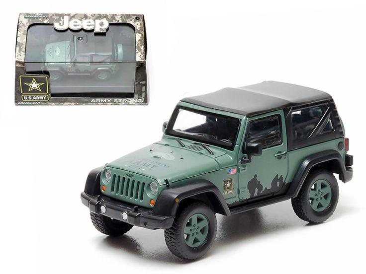 2012 Jeep Wrangler U.S. Army Hard Top Dark Green With Display Showcase 1/43 Diecast Model by Greenlight