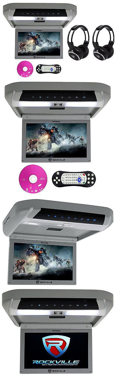 Car Monitors w Built-in Player: Rockville Rvd10hd-Gr 10.1 Flip Down Monitor Dvd Player, Hdmi, Usb+Headphones BUY IT NOW ONLY: $129.95