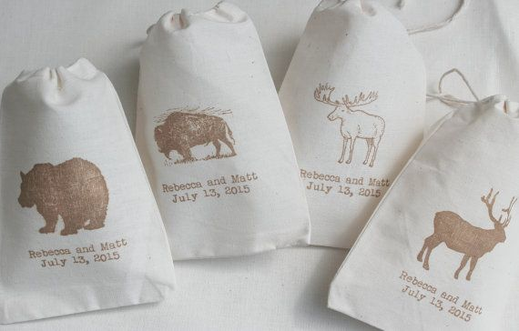 Bolsas de 40 boda rústico Buffalo oso alce y alce muselina